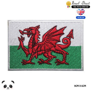 Wales National Flag Embroidered Iron On Sew On PatchBadge For Clothes etc