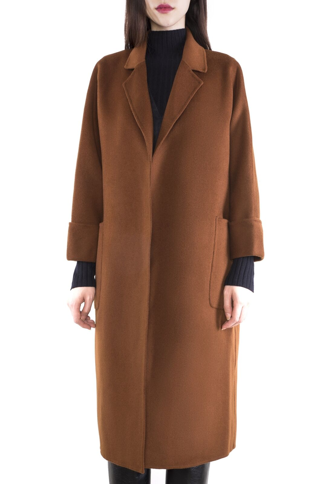 Two-Sided Pure Cashmere & Wool Hand-Stitched Drop Shoulder Loose Fit Long Coat