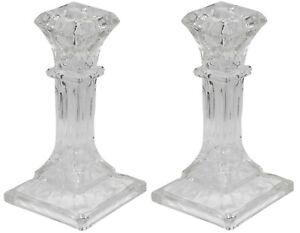 16cm-Tall-Square-Glass-Candlesticks-Set-of-2-Pillar-Shaped-Design-Candle-Stick