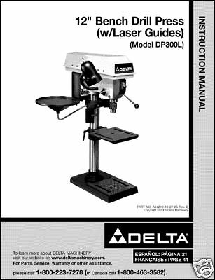 "DP300L Delta 12/"" Drill Press W// Laser Guides Manual No"