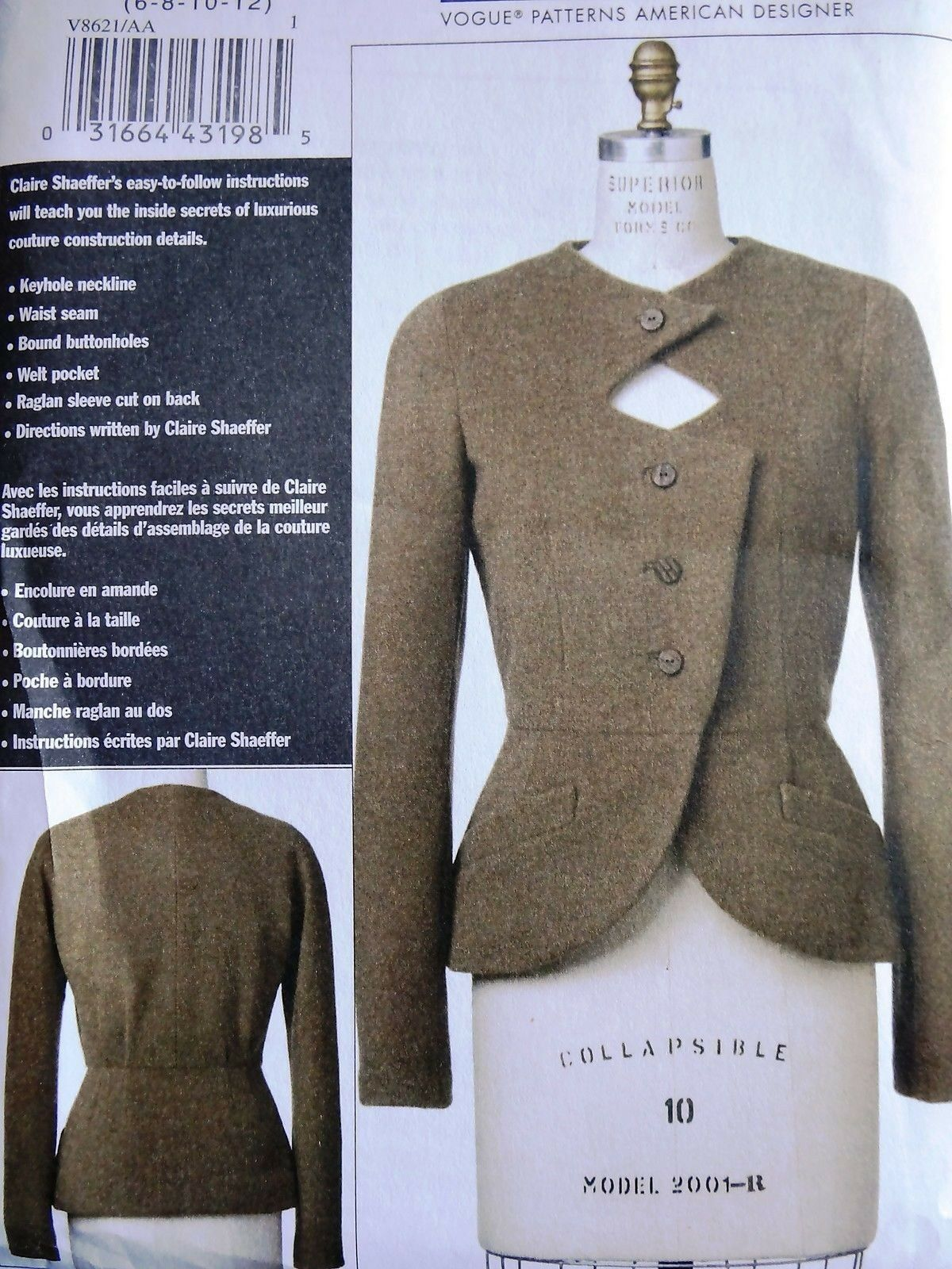 Vogue V8621 Claire Shaeffer Custom Couture Keyhole Jacket Sewing ...