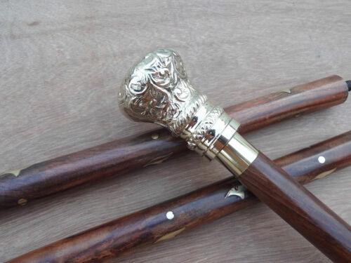 Antique Brass Ball Head Handle Handmade Style Wooden Walking Stick Vintage Cane