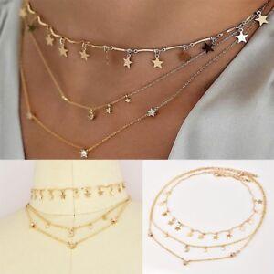 Fashion-Femmes-Bijoux-multicouche-collier-tour-de-cou-etoile-lune-pendentif-chaine-doree