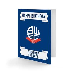 IngéNieux Bolton Wanderers F.c - Personnalisé Carte De Vœux (crest)-afficher Le Titre D'origine
