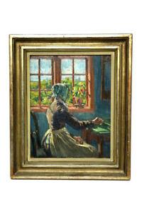Olgemaelde-von-Jacob-Alberts-Frau-am-Fenster-Kunstausstellung-Hamburg-1897