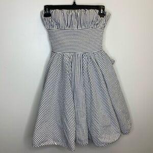Betsey Johnson Womens Strapless Dress Black White Stripe Tie Back Zip Pleated 0