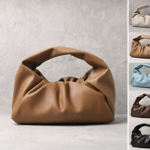 Soft-Real-Leather-Ruched-Shoulder-Pouch-Hobo-Tote-Bag-Clutch-Purse-Baguette