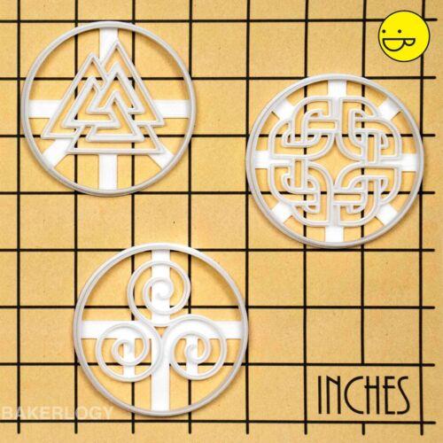/& Valknut Triskelion Lot de 3 Nordique Runes Cookie Cutters Celtique Bouclier Knot