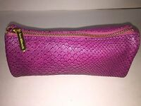 Bareminerals Purple Croco Embossed Zipper Triangle Cosmetic Beauty Bag/purse