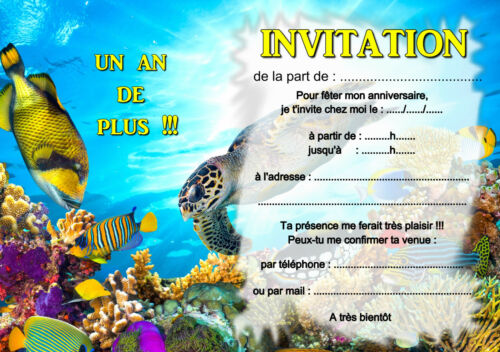 5 ou 12 cartes invitation anniversaire mer tortue poissons REF 367