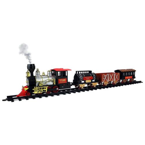 Electric Christmas Train Track Set W// Light Sound Real Smoke Kids Toy Tree Decor