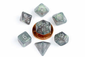 PinkBlack with White Numbers 10mm Mini Polyhedral Dice Set