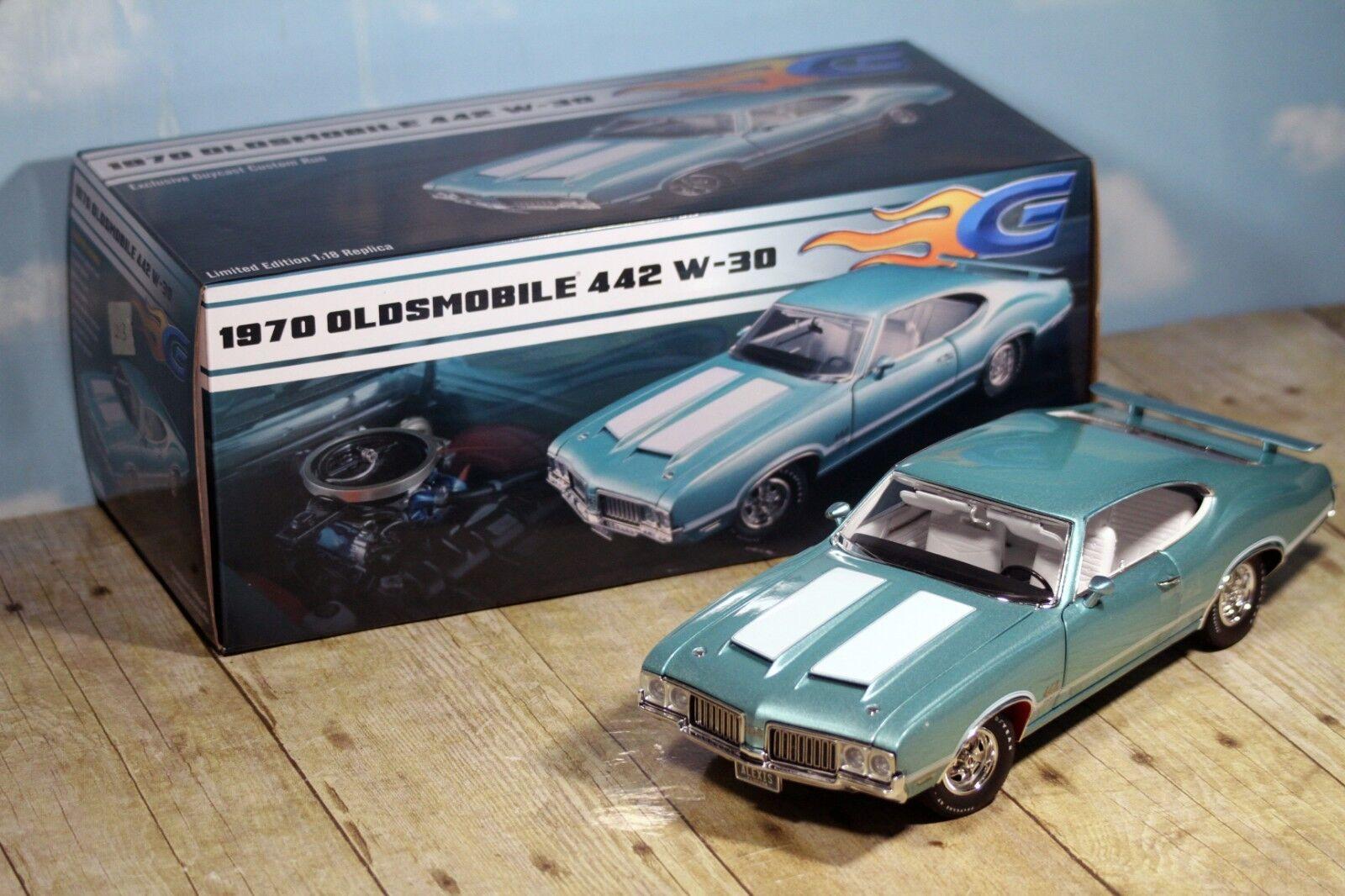 Acme GuyCast 1970 Oldsmobile Cutlass 442 W-30 W-30 W-30 Reef Turquoise 1 18 A1805610 110c3e