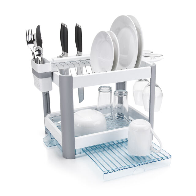 c1d0e8c14c8f Minky Twin Tier Extending Washing up Dish Rack Drainer White for ...