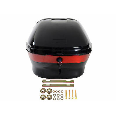 Hard Scooter Motorcycle Luggage Trunk Top Lock Case Storage Tail Box Gloss Black