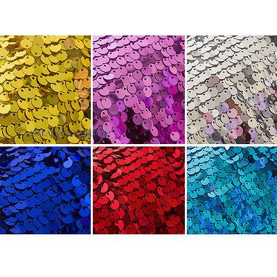 Sequin FULL Over on Nylon Mesh Costume Fabric Wide 130cm Turquoise/Golden New