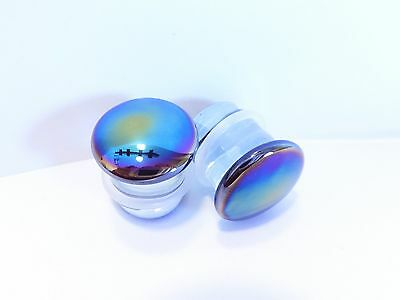 Amazing Glowing Oil Slick luciferins-style Glass Plugs Tunnels Ear Body Jewelry
