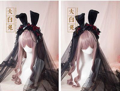 Lolita Vintage KC Rabbit Bunny Ears Gothic Lace Veil Headband Hair Band Cosplay