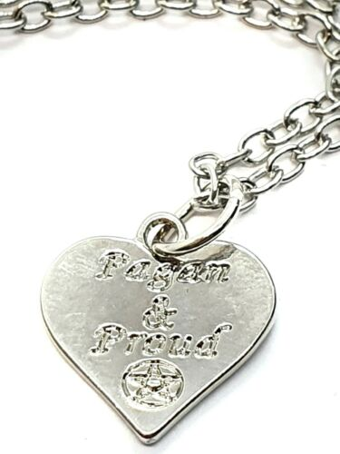 Pagan /& Proud Pendant Heart Necklace Pagan Wiccan Witch Chain Jewellery Gift