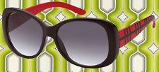 A150✪ Hippie Sonnenbrille 60er 70er Jahre rockabilly Retro schwarz rot kariert