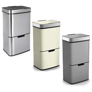 Large-72L-Stainless-Steel-3-Compartment-Waste-Recycling-Infra-Red-LED-Sensor-Bin