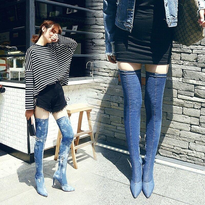 Western Style Women jean Denim high heel boots OVer the Knee High Slim Leg Shoes