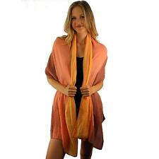Winter Super Soft Knit Big Large Long Wide Ski Shawl Wrap Scarf Tricolor Coral