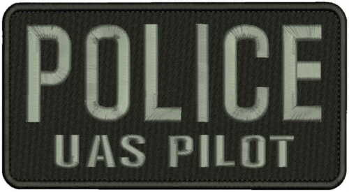 POLICE UAS PILOT EMBROIDERY PATCH 4x8 HOOK ON BACK BLK//GRAY