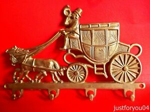 4-Hook-Brass-Key-Holder-Horse-Carriage-With-rider