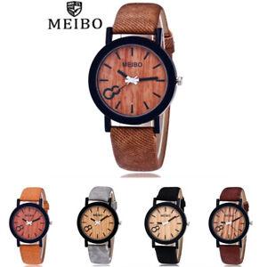 MEIBO-Maenner-Business-Holz-uhr-Casual-Leder-Band-Legierung-Quarz-Analog-Uhr