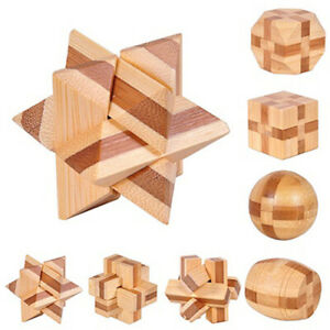 Wooden-Kongming-Lock-Brain-Teaser-Puzzle-Children-Adults-Educational-Game-Toy