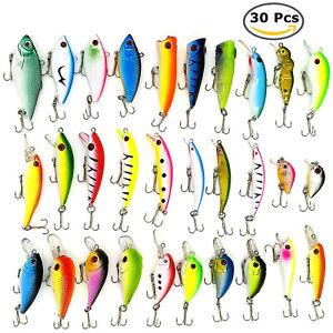 30PCS Kinds of Fishing Lures Crankbaits Hooks Minnow Baits Bass Tackle Crank Set