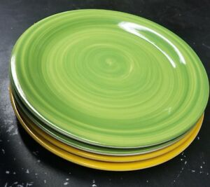 Set Of 4 Royal Norfolk Dinner Plate Dish Two Yellow Swirl and Two Green Swirl