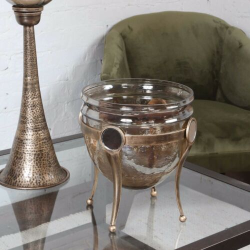 NEW COPPER BRONZE LUSTER GLASS DECORATIVE BOWL AGED GOLD METAL MIRROR STAND