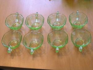8 Hocking Glass Company Green Vaseline Uranium Depression ...
