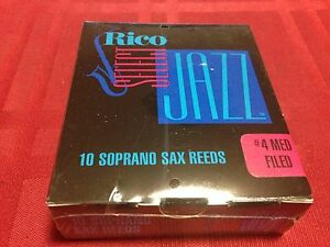 Box of 10 RICO SELECT JAZZ SOPRANO SAX REEDS SIZE #4 MED FILED by D'ADDARIO