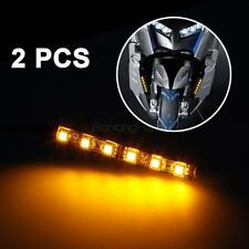 2pcs 6 LED Motorcycle Turn Signals Flexible Strip Blinkers Slim Flush Tail Light