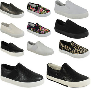 NEW-WOMENS-LADIES-SLIP-ON-FLAT-PLIMSOLLS-SNEAKERS-SKATER-TRAINERS-PUMP-SHOE-SIZE