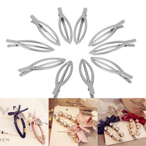 10 Argent Plain Meatl Pinch Clips cheveux cheveux arcs bricolage Craft Accessoire