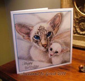 Siamese-Cat-amp-kitten-painting-art-Birthday-card-original-design-Suzanne-Le-Good
