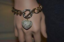 Guess Gold-Tone Chunky Chain Bracelet W/ Rhinestone Heart Charm Valentine Gift
