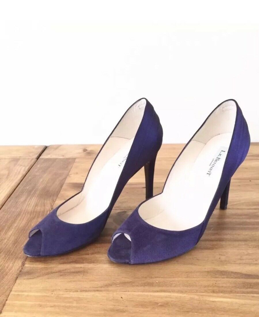 LK Bennett Dark Violet Suede & Satin Combi Peep Toe Court chaussures UK 6 EU 39