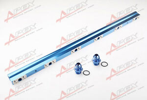S38 High Flow CNC Billet Aluminum Alloy Fuel Rail Blue For BMW M30