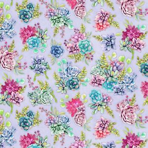 Wilmington-Humming-Along-Purple-Succulent-Garden-100-Cotton-Quilting-Fabric-SBY