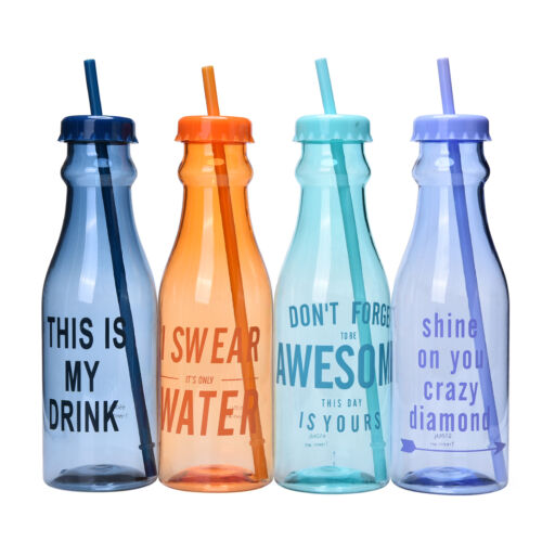 Portable Sport Travel Plastic Fruit Juice Water Bottle Cup with Straw TDO