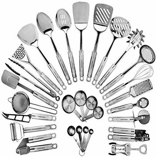 29 Cooking Utensils Nonstick HOME HERO Stainless Steel Kitchen Utensil Set