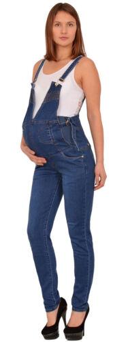 Damen Latzhose Jeans Umstandshose Schwangerschaftshose Maternity Latzjeans J294