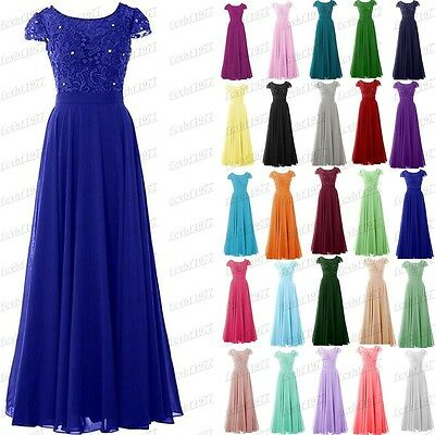 Long Chiffon Lace Evening Formal Party Ball Gown Prom Bridesmaid Dress Size 6-24