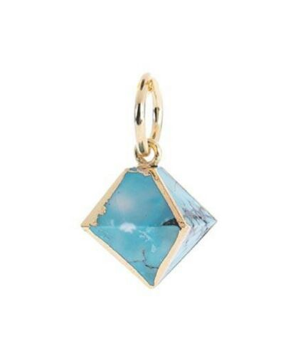 Benny And Ezra Octahedron Turquoise Pendant Antique Gold by Benny & Ezra