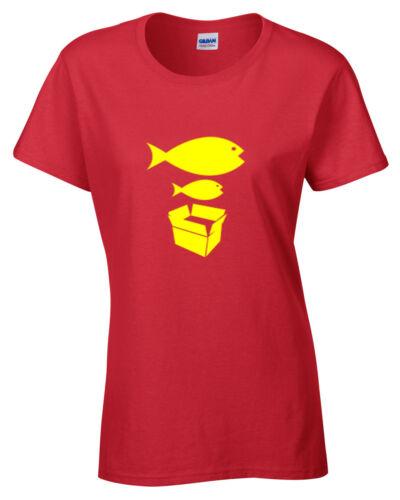 Big Fish Little Fish Womens Ladies T Shirt Funny Stone Dancer Roses
